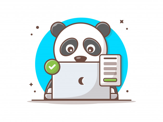 panda-linda-computadora-portatil-muestra-acertada-icono-vector_138676-418